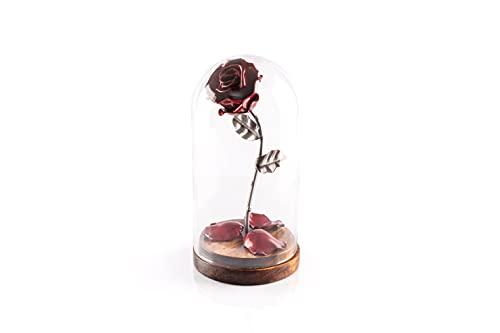 Rosa Eterna de Hierro Forjado La Bella y La Bestia con pétalos caídos en cúpula de cristal sobre base de madera (Rojo/Plateado)