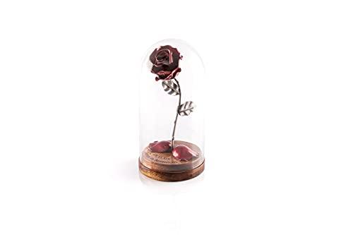 Rosa Eterna de Hierro Forjado La Bella y La Bestia con Grabado Personalizado, pétalos caídos en cúpula de cristal sobre base de madera (Roja/Plateada)