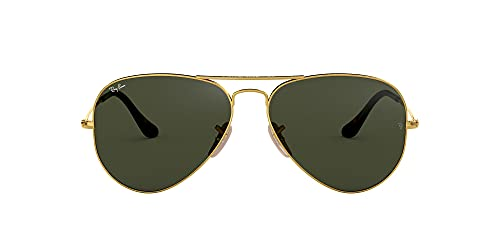 Ray-Ban Aviator Large Metal, Gafas de sol para Hombre, Dorado (Green Classic), 58