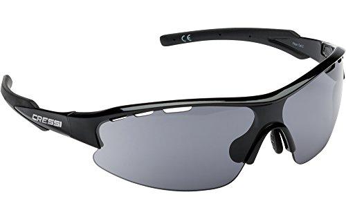 Cressi Vento Gafas de Sol, Hombre, Negro/Lente Gris Oscuro, Talla Única