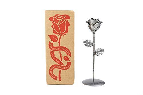 Rosa Eterna de Hierro Forjado Plateada con peana - Forjada a Mano