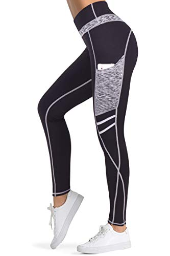 3W GRT Leggings mujer fitness,Mallas Deportivas de Mujer,Pantalones elásticos de yoga con bolsillos laterales,polainas de yoga Fitness,Yoga (Negro&Gris-331, M)
