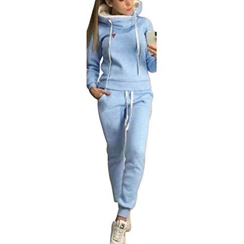 Chándal de 2 piezas para mujer, con manga larga, forro cálido, sudadera con capucha y pantalón deportivo de running, S-5XL azul claro M