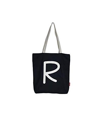 Hello-Bags. Bolso Tote. Algodón 100%. Modelo R. Negro. con Cremallera, Forro y Bolsillo Interior. 37 * 38 cm. Incluye Bonito sobre Kraft de Regalo.