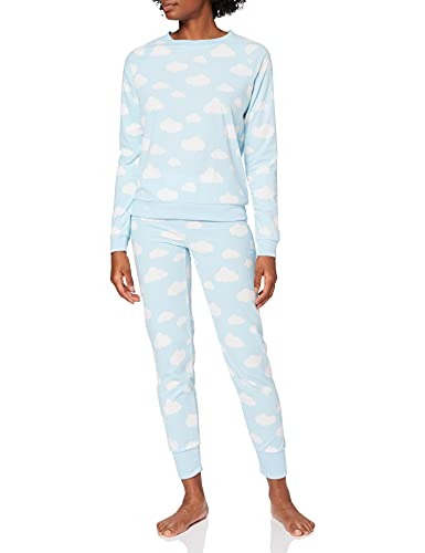 Marca Amazon - IRIS & LILLY Pijama Mujer, Azul (Blue), M, Label: M