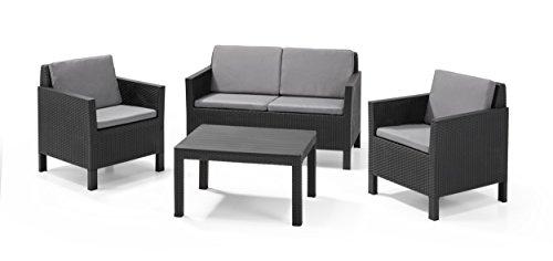 Keter - Conjunto de jardín de 4 plazas Chicago Lounge con cojines incluidos, Color grafito