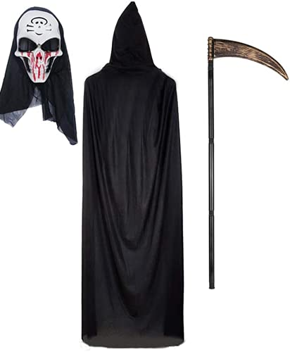 Wishstar Negro Largo Capa con Capucha para Halloween Carnaval, Capa Unisex con máscara y guadaña de plástico (Manto Negro)