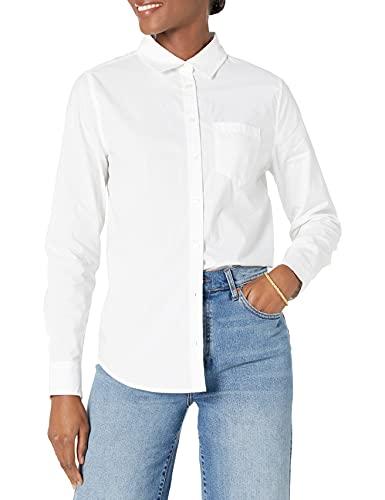 Amazon Essentials – Camisa de popelín de manga larga de corte clásico para mujer, Blanco, US S (EU S - M)