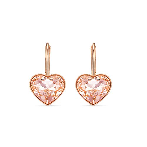 Swarovski Pendientes Bella Heart, rosa, baño tono oro rosa
