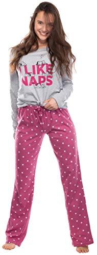 Brandsseller Pijama de dos piezas para mujer, pijama de ocio, conjunto con motivos en estilo de Snoopy, gris claro/rosa., L