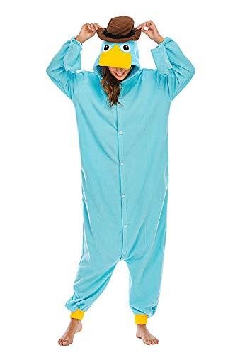 Unisexo Adulto Animal Pijama Cosplay Disfraz con Capucha Onesies Kigurumi Pyjama Homewear Mamelucos Ropa De Dormir para Carnaval Halloween,LTY117,Ornitorrinco,S