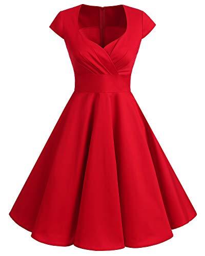 Bbonlinedress Vestido Corto Mujer Retro Años 50 Vintage Escote En Pico Red L
