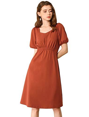 Allegra K Vestido Vintage Escote Corazón Frente Fruncido Manga Corta para Mujeres Naranja Quemado XL