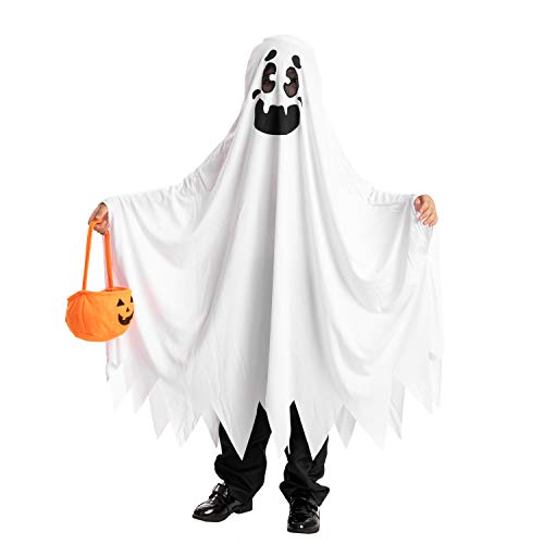 Ghost boo and friendly costumes for children's Halloween ghost tricks or treatment (Medium ( 8- 10 yrs))