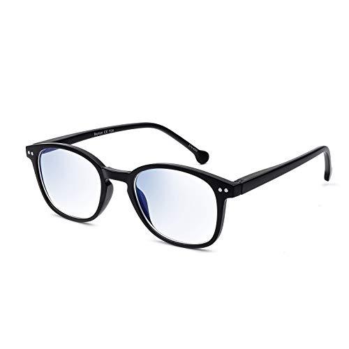 Baytion Gafas Luz Azul Hombre y Mujer, Gafas de Ordenador Bloqueo de luz Azul, Gafas con Filtro de luz Azul, Anti-UV, Anti-fatiga y Anti-reflejos Gafas Para PC Ordenador & Gaming, Negro