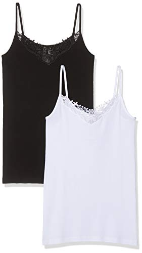 Only Onlkira Lace Singlet 2 Pack Noos Camiseta sin Mangas, Negro (Black Pack: Black and White), X-Large 2 para Mujer