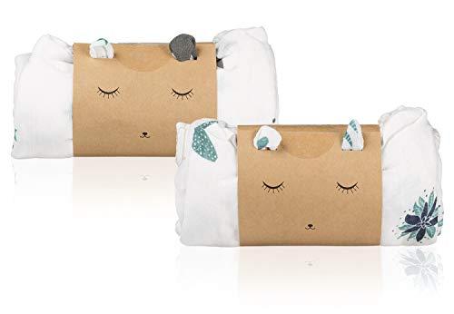 Pack 2 Mantas Muselina en Bambú y Algodón Orgánico para Bebé | Set Gasas Swaddle Wrap Unisex | Sábanas Recién Nacido Multiusos | Paños Ultra Suaves y Transpirables | Mantitas Algodón Grandes 120X120cm
