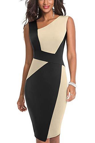 HOMEYEE Vestido sin Mangas de Negocios con Contraste en Color elástico Vintage de Mujer B517 (EU 44 = Size XXL, Albaricoque + Negro)