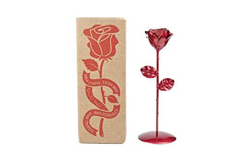 Rosa Eterna de Hierro Forjado con Peana - Forjada a Mano (Roja)