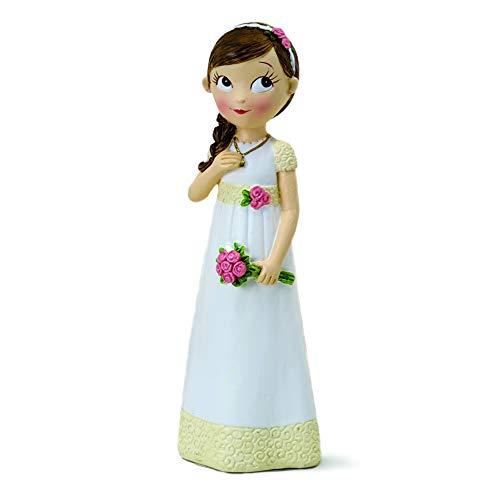 Mopec Figura de pastel de niña para Comunión, Blanco, 16.5 cm