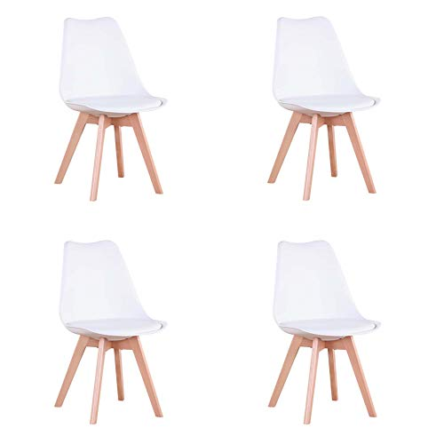 Conjunto de 4 sillas, Silla de Comedor, Silla de Estilo nórdico, Adecuada para Sala de Estar, Comedor (Blanco)