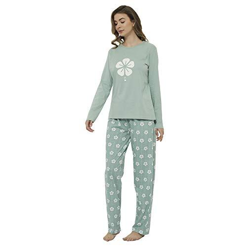 PimpamTex – Pijama de Mujer Invierno Algodón de Otoño-Invierno Camiseta Manga Larga y Pantalón Largo Estampados de Tacto Suave (M, Trébol Verde)