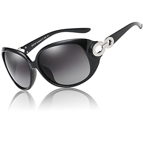 Duco 1220 Gafas de Sol Estrella Clásica para Mujeres Damas 100% Protección Ultravioleta Marco Negro Lente Negro