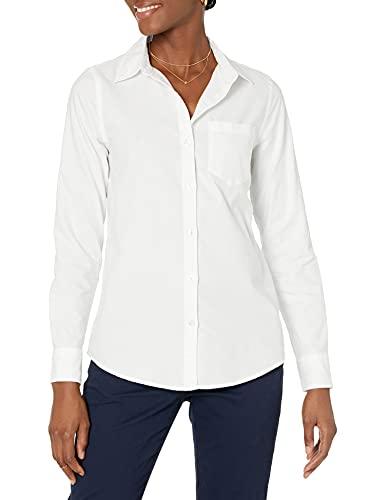 Amazon Essentials - Camisa Oxford de manga larga y corte clásico para mujer, Blanco (White Whi), US M (EU M - L)