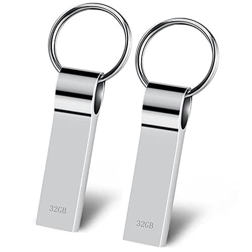 MRSUNO Memoria USB 32GB 2 Piezas Pendrive USB 2.0 Metal Pen Drive Impermeable Memory Stick USB Flash Drive Mini USB Stick con Llavero para Almacenamiento de Datos