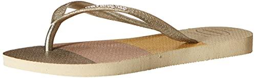 Havaianas Slim Glitter Palette, Chanclas Mujer, Dorado, 38 EU