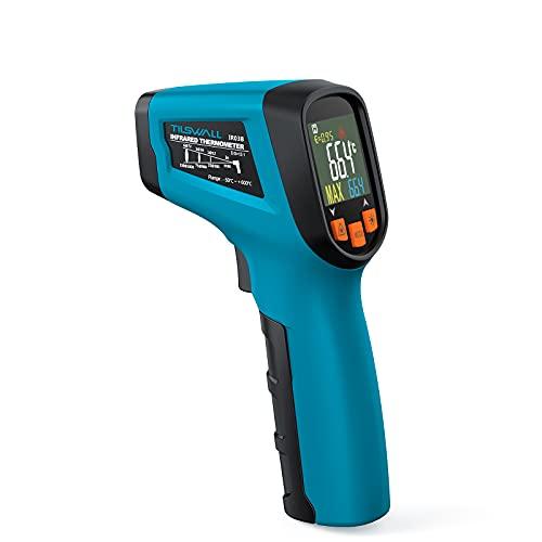 Termómetro Infrarrojo Industrial Tilswall Termómetro Láser Digital de Amplio Rango -50~600℃/ -58~1112℉ con Emisividad Ajustable y Alarma de Temperatura Alta/Baja para Vidrio/Metal/Carbono/Comida