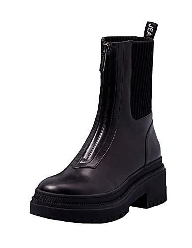Pepe vaqueros Rock Zip, combat Boot para mujer, (999black), 38 EU