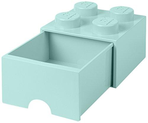 Room Copenhagen 4005 Lego Ladrillo 4 pomos, 1 cajón, Caja de almacenaje apilable, 4,7l, Legion/Aqua Light Blue/Mint, 25 x 25 x 18 cm