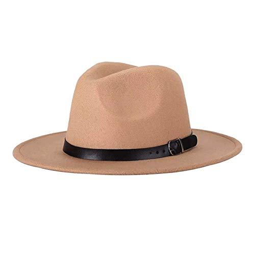 Unisex Del Sombrero De Fedora De Invierno De Ala Ancha Con La Decoración De La Correa De Cuero Del Sombrero De Panamá Para Hombres Mujeres