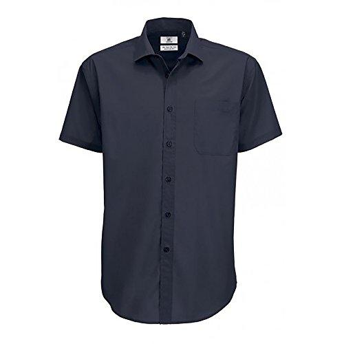 B&C - Camisa de Manga Corta Modelo Smart (Tallas Grandes) para Hombre Caballero - Fiesta/Trabajo/Eventos Importantes (Grande (L)) (Azul Real)