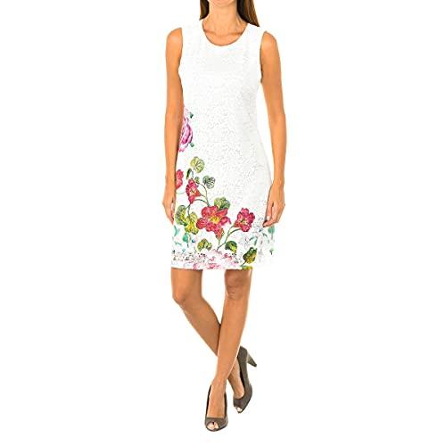 Desigual Vest_Bonney Vestido, Blanco (Crudo 1001), 40 (Talla del Fabricante: 40) para Mujer