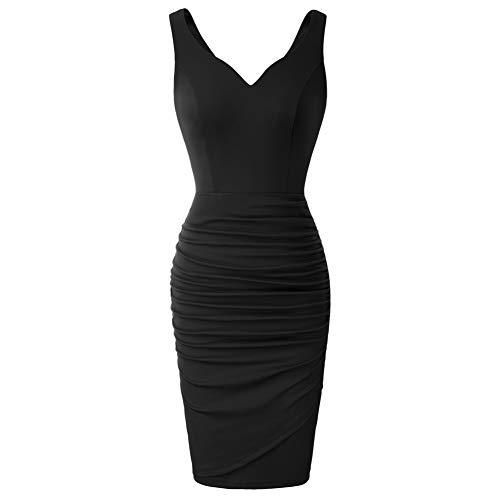 Mujer Vestido Lápiz Corto de Plisado sin Mangas con Escote Corazón para Noche M Negro CLS02497-1