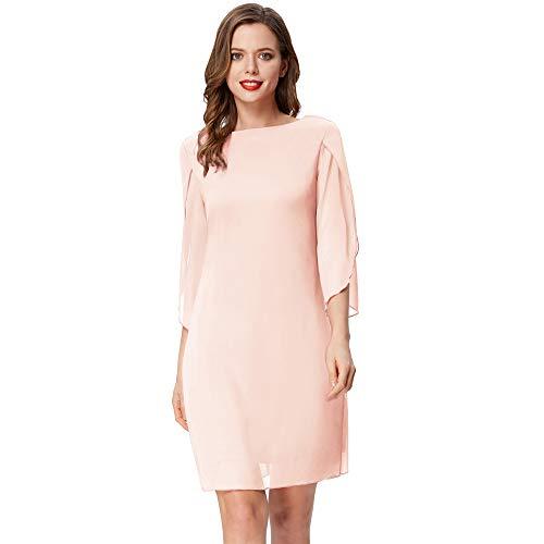 Vestido Suelto de Gasa para Mujer, Elegante Camiseta de Manga Corta con Cuello Redondo para otoño, Primavera, Rosa XL CL010888-7
