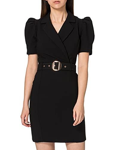 Morgan Robe AJUSTEE Col TAILLEUR CEINTUREE 211-RDESIR.F Vestido, Negro, 38 para Mujer