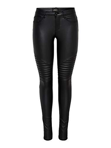 ONLY onlNEW ROYAL REG SK. BIKER COATED NOOS, Pantalones Mujer, Negro (Black), L/L30 (Talla del fabricante: Large)
