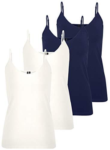 VERO MODA Vmmaxi My Soft V Singlet Noos Top - Camiseta para mujer, blanco/azul (2 blanco nieve y 2 Black Iris)., S