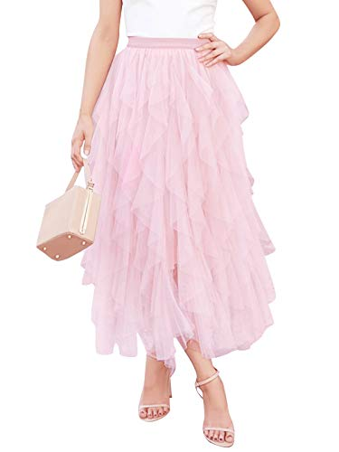 Eledobby Falda de Tul para Mujer Elegante Princesa Faldas Largas Señoras Una Línea de Cintura Alta Falda de Malla Plisada En Capas Ropa de Verano para Fiesta Cóctel Rosa M