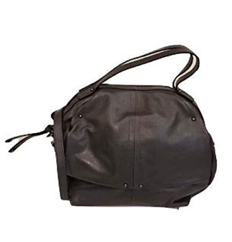 Caterina Lucchi N0131 Made in Italy Bolso de mano baúl con correa extraíble, color gris oscuro, piel auténtica Calf