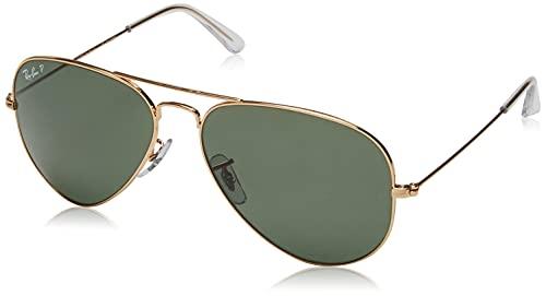 Ray-Ban Aviator Large Metal Gafas de sol, Dorado (Marco: Dorado, Lente: Polarized Verde 001/58), 62 para Hombre