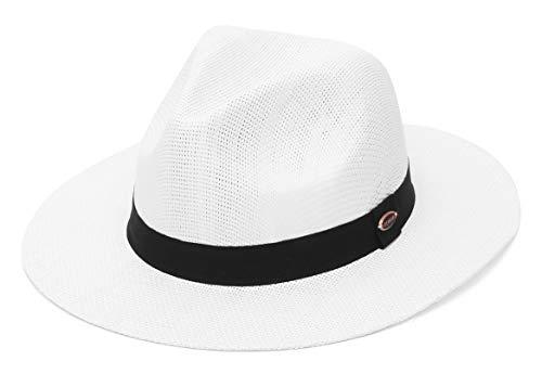 GEMVIE-Sombrero de Paja Unisexo Sombrero de Panamá Sombrero Fedora de Verano con ala Ancha para Anti-UV Sombrero para el Sol al Aire Libre