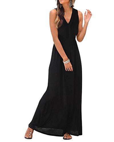 LilyCoco Mujer Largo Maxi Verano Casual Vestido de Playa Fiesta Suelto Vestido Elegante Sexy y Comodo Cuello en V Sin Mangas Largo Vestido Falda de Playa Noche Verano Negro-M