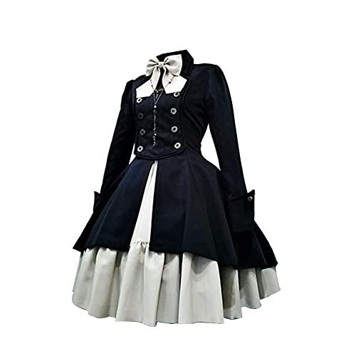 Lolita - Vestido vintage gótico para mujer, disfraz medieval renacentista, vestido retro de princesa, Negro, XXXL