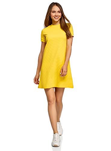oodji Ultra Mujer Vestido Holgado de Punto, Amarillo, ES 44 / XL