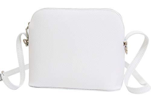 AMBRA Moda GL018 - Bolso de piel italiana para mujer, bolso bandolera de hombro, bolso pequeño (blanco)