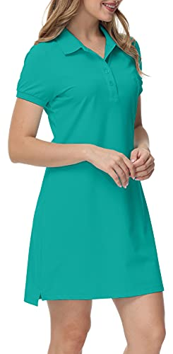 MoFiz Vestido de Polo Mujer Manga Corta Verano Algodón Trabajo Vestido Deportivo Tenis Golf Dress Verde XS